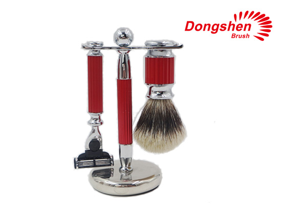 Red Metal Two Band Badger Hair Shaving Brush Set